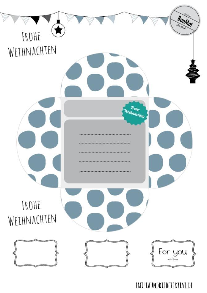 Printable: Weihanchtskarte zum Ausdrucken .mit Punkten von Emilia und die Detektive www.emiliaunddiedetektive.de